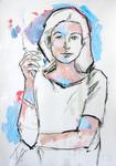 Junge Frau, rauchend