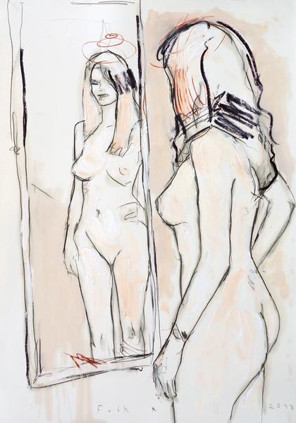 Junge Frau, sich im Spiegel betrachtend, Zinkweiß