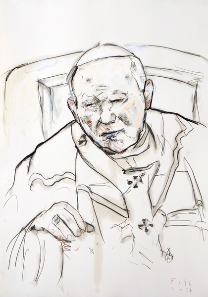 Johannes Paul II., nachdenklich und ermattet