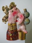 Fishman kiss, ceramic sculpture