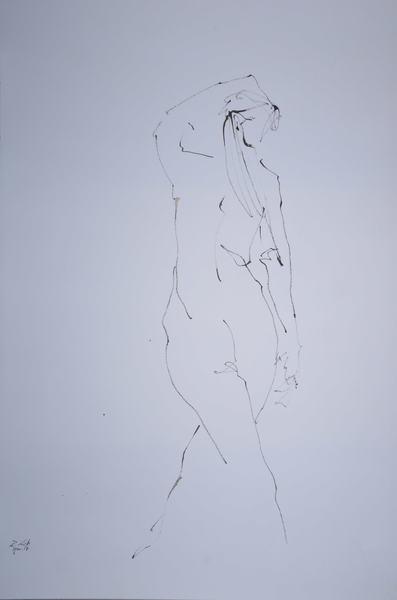 woman from behind legs crossed