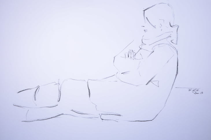 sitting woman with her arms folded
