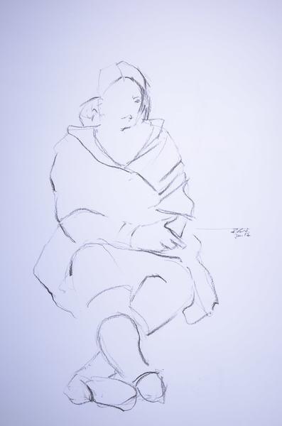 sitting woman with shawl II