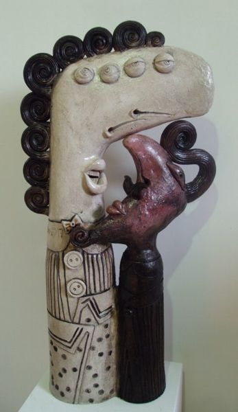 Discussion with a devil, ceramic sculpture
