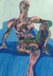Seated Nude (Blue Background)