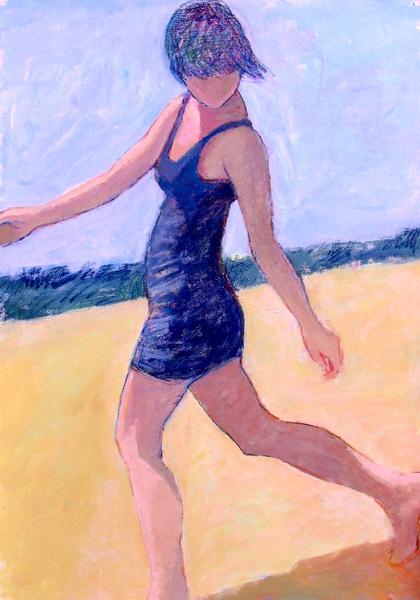 Young Woman Walking Beachside
