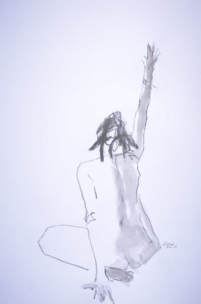 sitting woman raising her hand