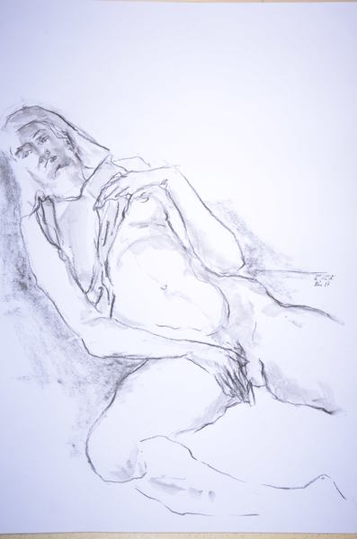 reclining woman with shirt