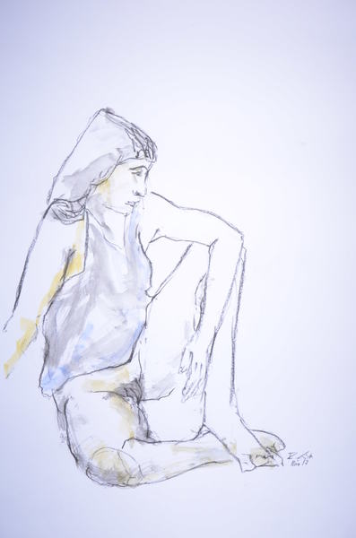 sitting woman with shirt