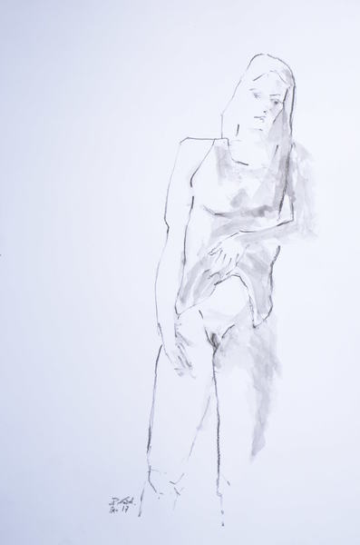 standing woman holding up her shirt II