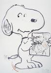 Snoopy, eine Zeichnung von Karl Marx vorstellend