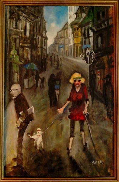 Budapester Dame mit Hündchen