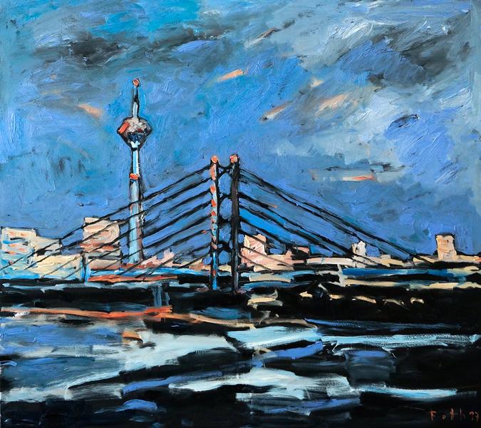 Rheinkniebrücke mit Rheinturm, Düsseldorf