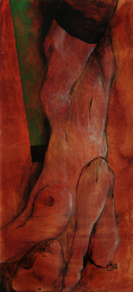 Reclining nude on green blanket