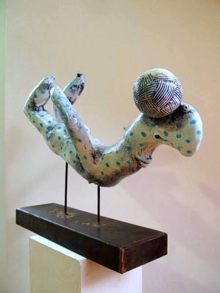 A kick, ceramic sculpture