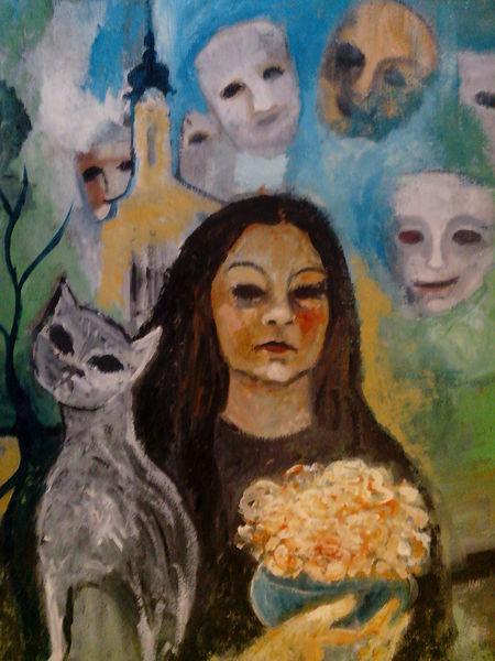 Masken, Katze ,Blumen