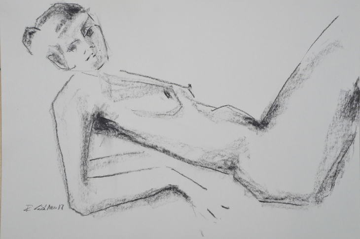 reclining woman resting on elbows