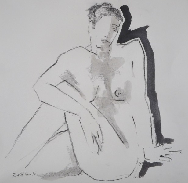 woman sitting in front of black