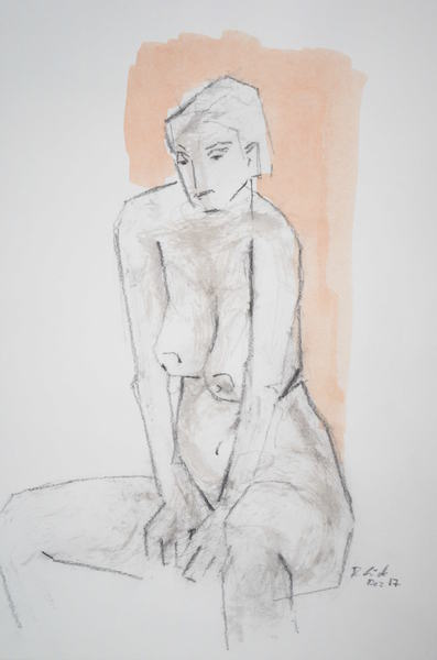 sitting woman resting on both arms