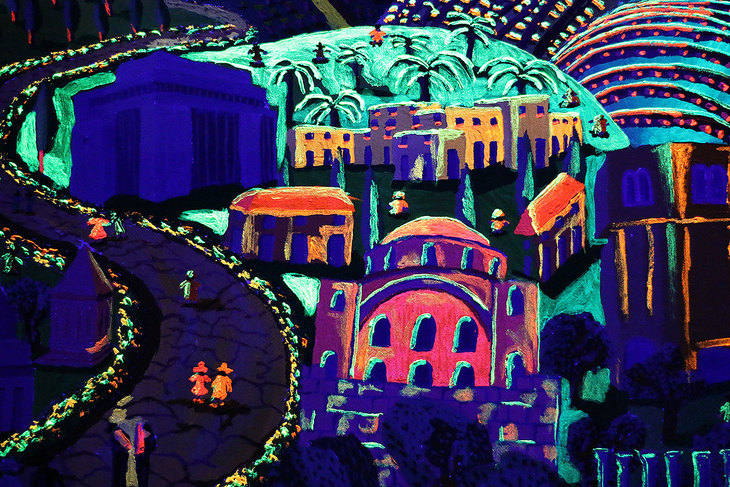 Naive painting of the city of Jerusalem Israel in phosphorescent