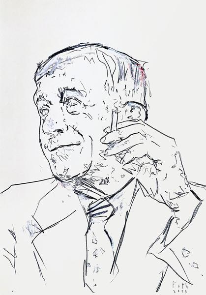 Oskar Kokoschka, rauchend