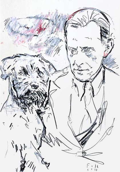 Erich Maria Remarque mit aufmerksamem Hund