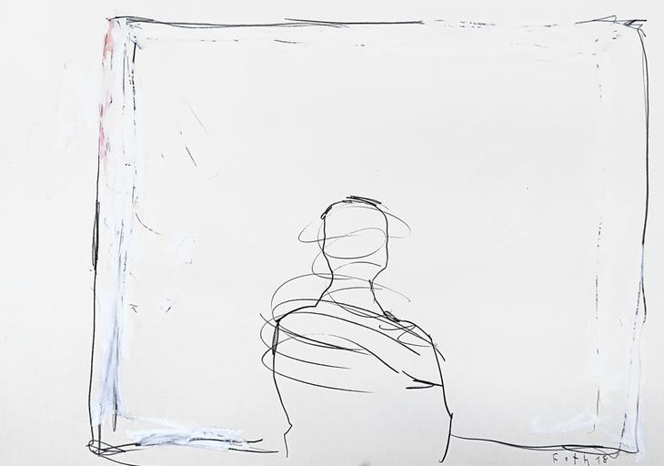 Maler vor großer weißer Leinwand