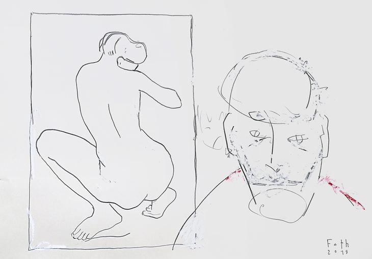 Sammler vor einer Zeichnung von Aristide Maillol