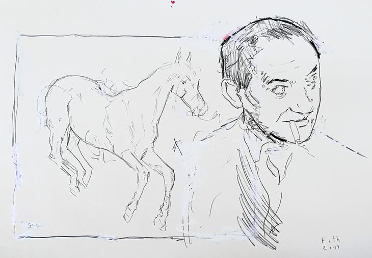 Jules Pascin, mit einer Zeichnung von Degas verschmelzend