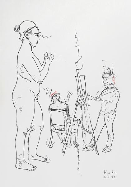 Modell mit Schreihals-Zwerg und Kerzenhut-Maler