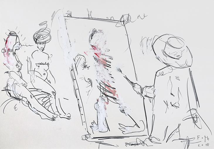 Tucke, zwei ältliche Tanten malend