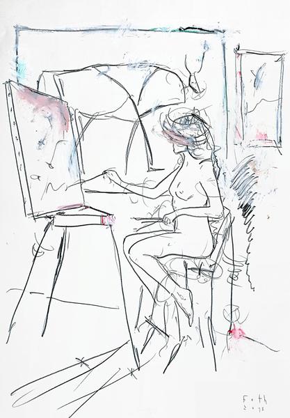 Malschülerin, sich vor einer Picasso-Reproduktion an einer Kompo