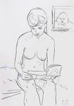 Mädchen, unbekleidet lesend