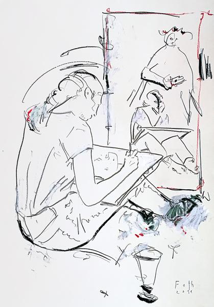 Mädchen mit grünen Socken, zeichnend
