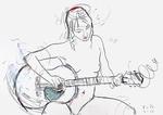Mädchen, unbekleidet Gitarre spielend
