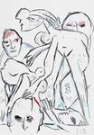 Drei Freunde, sich in einer Komposition von Picasso einrichtend