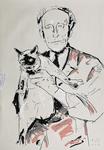 Jean Cocteau mit Katze