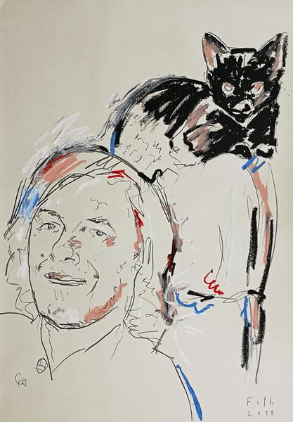 Mircea Cartarescu mit Katze