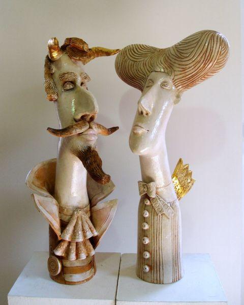 Ceramic sculpture angel, devil