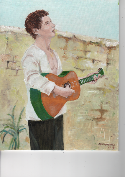 Young man playing his Guitar