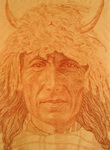 RED INDIAN MAN WITH ANIMAL CAP