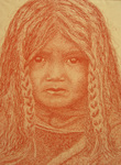 RED INDIAN CHILD WITH PLAITS