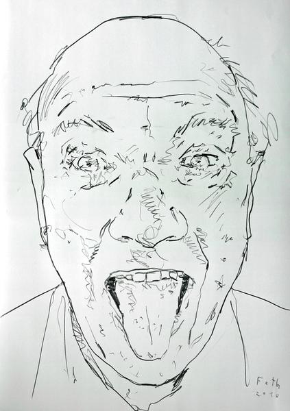 Mann, die Zunge rausstreckend