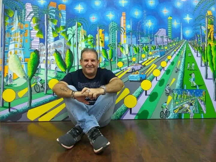 naive artworks painting urban landscape  naif artist painter
