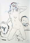 Frau mit Büsten, Juli