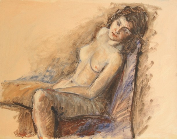 Pastel and wash, Nude 70x55