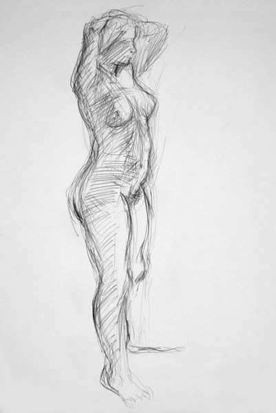 Standing nude, pencil 36x60