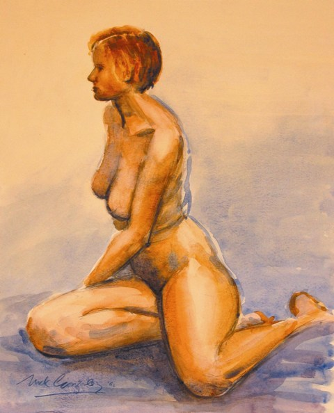 nude, watercolour 30x40