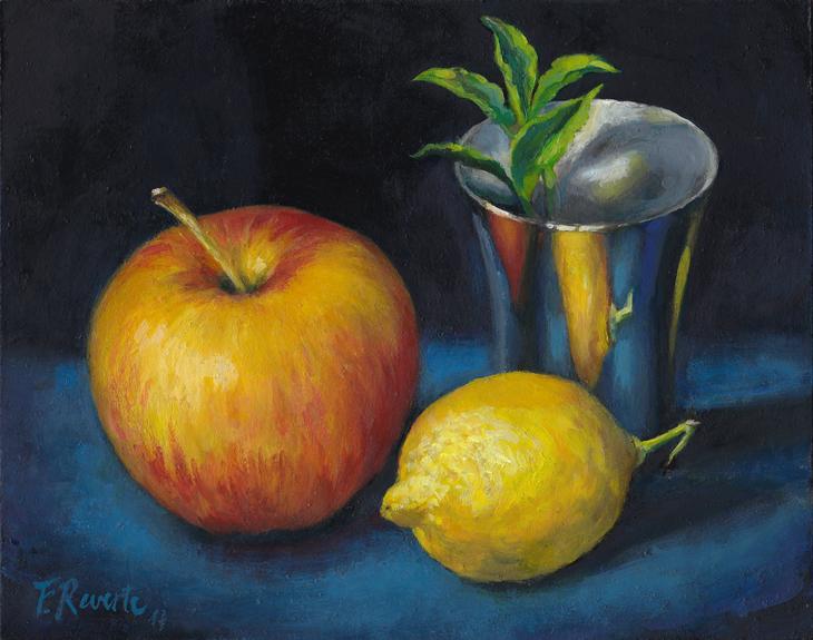 Apple, Lemon, Silver Goblet