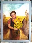 Mádchen mit Sonnenblumen